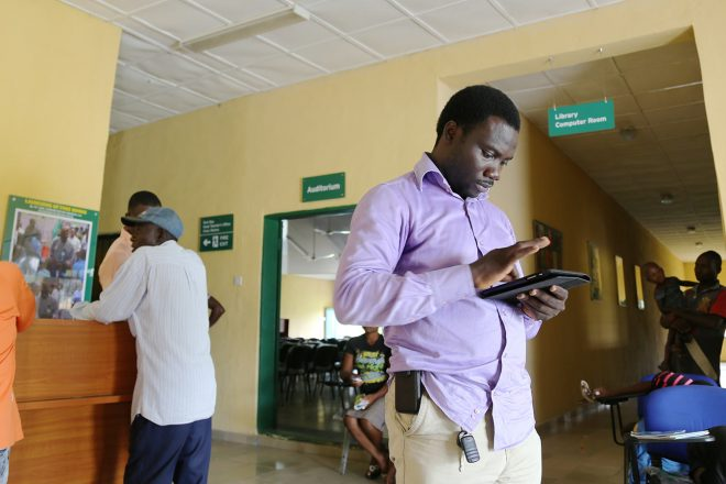 NDCBP's Ken Henshaw conducts research at a school in Nigeria