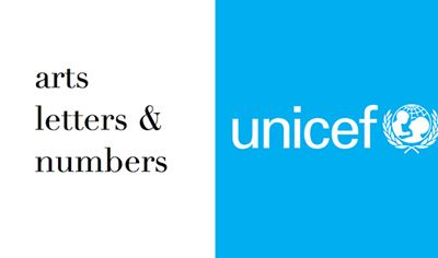 arts letters & numbers logo with unicef logo